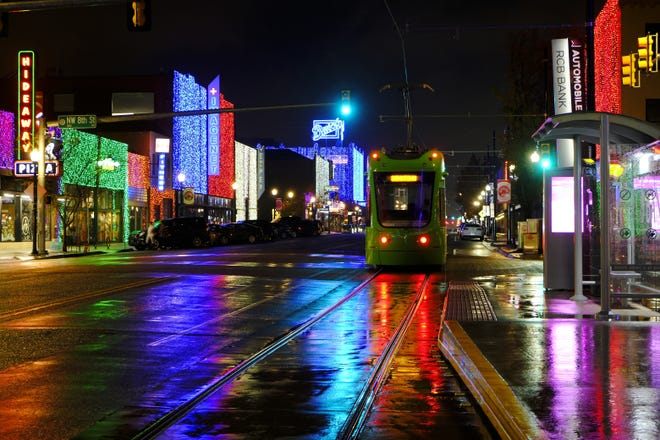 """Automobile Alley is lit up for """"Lights on Broadway,"""" a part of Downtown in December. [Doug Hoke/The Oklahoman]"""