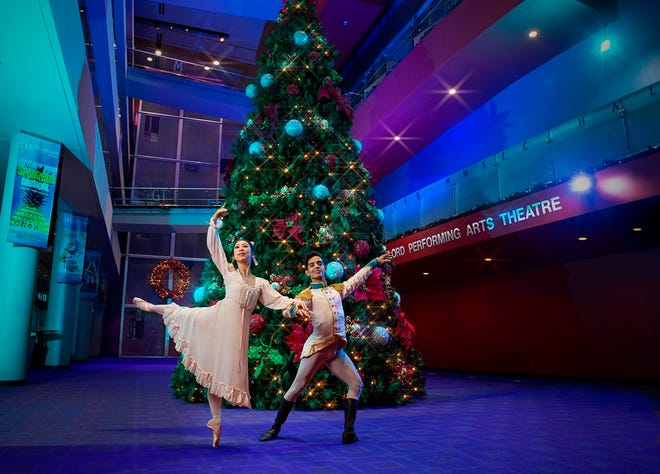 """Principal dancer DaYoung Jung and company dancer Alejandro Gonzalez appear in a photo for Oklahoma City Ballet's production of """"The Nutcracker: Short & Sweet,"""" which opens Saturday at the Civic Center. [Shevaun Williams photo]"""