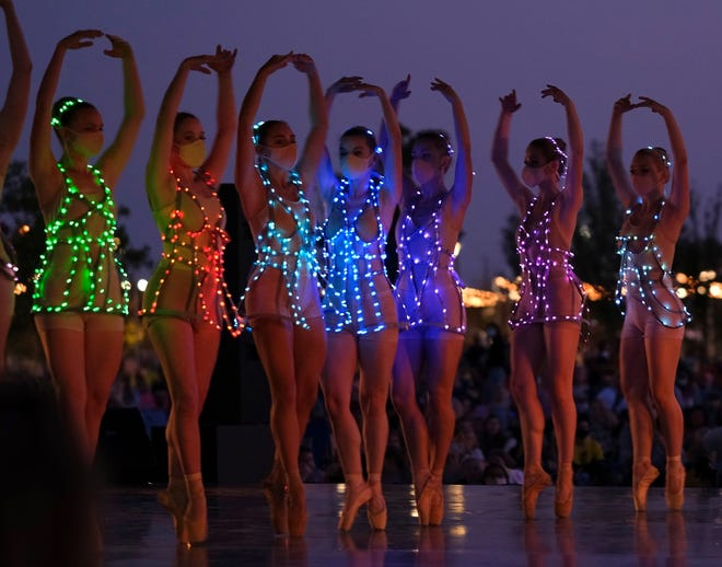 """Oklahoma City Ballet dancers perform at the free """"Ballet Under the Stars"""" event at Scissortail Park Friday, October 9, 2020. [Doug Hoke/The Oklahoman Archives]"""