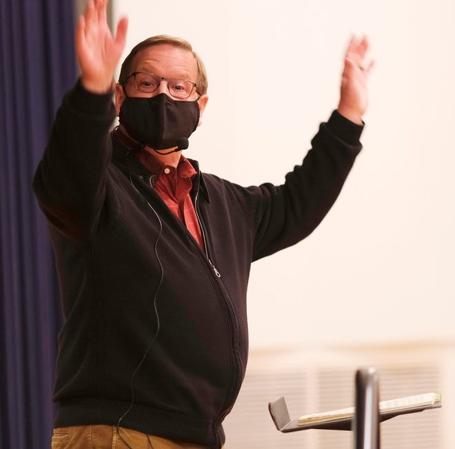 Artistic Director Randi Von Ellefson directs the chorus at Canterbury Voices' weekly rehearsal at the Joel Levine Rehearsal Room at the Civic Center, where they are taking extra precautions because of the COVID-19 pandemic, Monday, October 19, 2020. [Doug Hoke/The Oklahoman Archives]