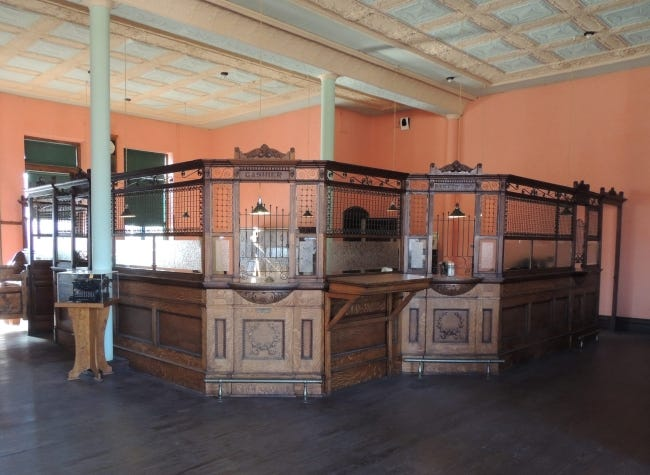 Cashier and newspaper subscription windows at the State Capital Publishing Museum in Guthrie. [PROVIDED/LYNN BILODEAU]