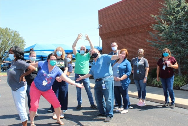 LifeShare Transplant Donor Services of Oklahoma Inc. employees recognize Blue Team appreciation day. [SUBMITTED PHOTO]