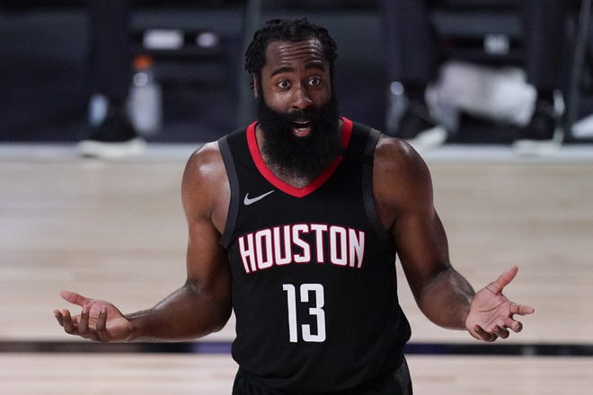 James Harden hasn't reported to Houston Rockets camp and coach Stephen Silas said Monday that he didn't know when the All-Star guard would arrive. [AP Photo/Mark J. Terrill]