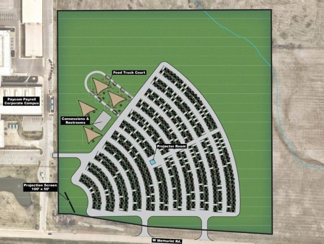 Plans for a new drive-in theater to be built next to the Paycom headquarters will include a food truck court. [JOHNSON & ASSOCIATES]