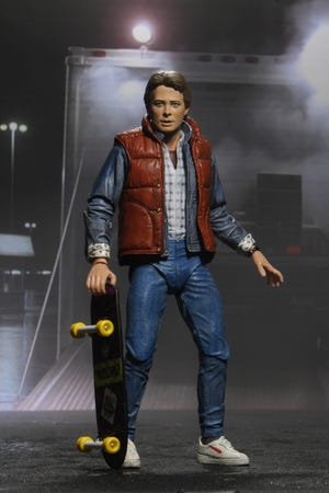 """The 7-inch action figure of Marty McFly in NECA's """"Ultimate"""" scale was released to celebrate the 35th anniversary of """"Back to the Future."""" [NECA]"""