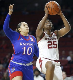Oklahoma's Madi Williams (25) goes past Kansas' Emma Merriweather (10) during an 83-80 Jayhawk win last season in Norman. {Bryan Terry/The Oklahoman]