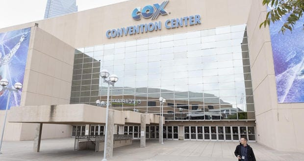 A man walks out of Cox Convention Center on Thursday, October 18, 2018 in Oklahoma City. (Emmy Verdin/Photographer)