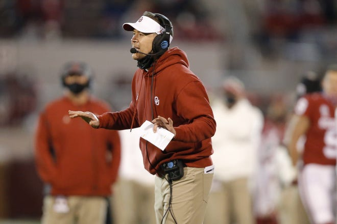 OU coach Lincoln Riley said his Sooners were in the middle of its walk-through Thursday when they received word that West Virginia was unable to play the game due to COVID concerns. [Bryan Terry/The Oklahoman]