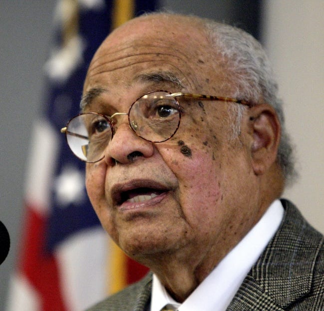 Longtime Oklahoma educator Melvin Todd speaks before an unveiling of the statue The Invisible Royalty at the Ralph Ellison Library in Oklahoma City on Feb. 9, 2012. Todd died at age 87 on Dec. 2. [The Oklahoman Archives]