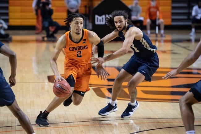 OSU guard Cade Cunningham, left, dribbles while defended by Oral Roberts guard Kareem Thompson on Tuesday. [Rob Ferguson/USA TODAY Sports]
