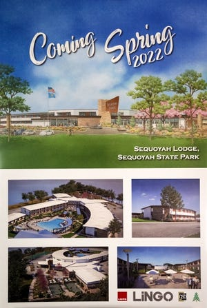 Renderings of proposed upgrades to Sequoyah Lodge at Sequoyah State Park presented during a news conference on upgrades to Oklahoma state parks in Oklahoma City, Okla. on Thursday, Dec. 10, 2020.