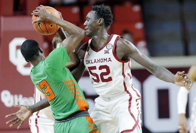 OU's Kur Kuath (52) had a team-high 14 points with three points and a career-high eight rebounds Saturday in an 85-54 win over Florida A&M in Norman. [Ty Russell/SoonerSports.com]