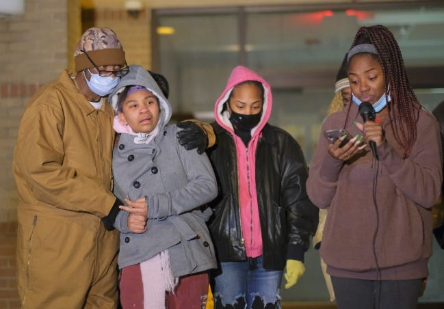 Ameerah Gaines speaks for family members of Bennie Edwards as his brother comforts her sister on Saturday. The group gathered at the Hefner Division Police substation to protest the killings of Edwards and Stavian Rodriguez recently by Oklahoma City Police officers. [Doug Hoke/The Oklahoman]
