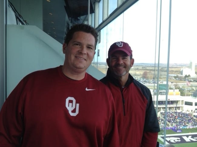 Greg Blackwood, right, was the spotter for Toby Rowland and the OU football radio crew for a decade. Blackwood died Sunday after being diagnosed earlier this year with pancreatic cancer. [PROVIDED]