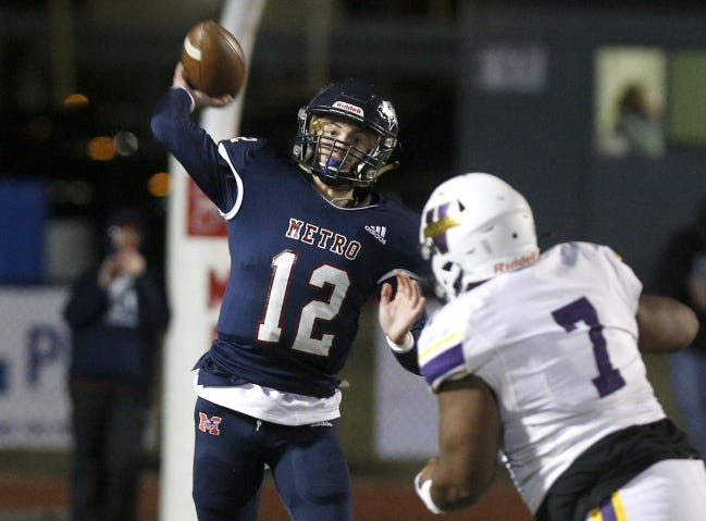 Tulsa Metro Christian quarterback Kirk Francis (pictured Nov. 27) had five passing touchdowns in the Patriots' 55-28 home win against Oklahoma Christian School in the Class 2A semifinals on Friday. [John Clanton/Tulsa World]