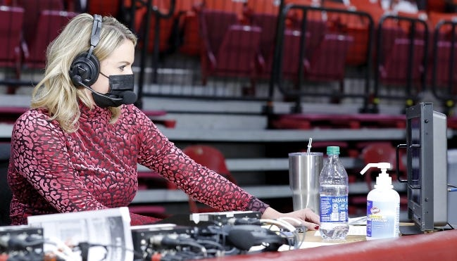 Jessica Coody is the first woman to do play by play during a TV broadcast of an OU men's basketball game. She made history Saturday during the Sooners' game against Florida A&M. [TY RUSSELL/OU ATHLETICS]