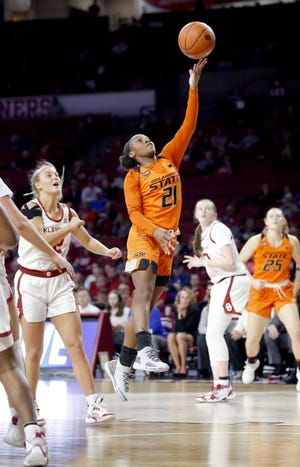 Ja'Mee Asberry (21) and Oklahoma State will face OU inside the Lloyd Noble Center at 7 p.m. Tuesday. [Sarah Phipps/The Oklahoman]