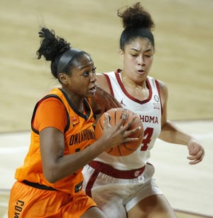 Oklahoma State's Taylen Collins (14) goes to the basket past Oklahoma's Skylar Vann (24) during a Bedlam women's college basketball game on Tuesday. [Bryan Terry/The Oklahoman]