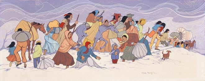 """Valjean McCarty Hessing's (Choctaw, 1934–2006) 1966 watercolor painting """"Choctaw Removal"""" is on view at Tulsa's Philbrook Museum of Art as part of the exhibit """"Hearts of Our People: Native Women Artists."""" [Image provided]"""
