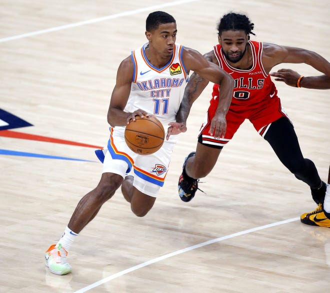 Oklahoma City's Théo Maledon drives to the basket past Chicago's Patrick Williams (9) during the Bulls' 124-103 preseason win Wednesday at Chesapeake Energy Arena. It was Thunder's first game at home since March 3 against the Clippers. [Sarah Phipps/The Oklahoman]