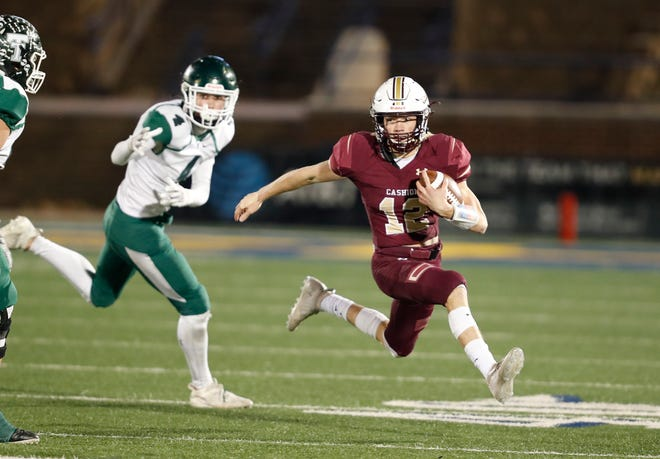 Cashion quarterback Ben Harman runs for a first down against Thomas during the Class A state title game Saturday at the University of Central Oklahoma's Wantland Stadium in Edmond. [Alonzo J. Adams/For The Oklahoman]