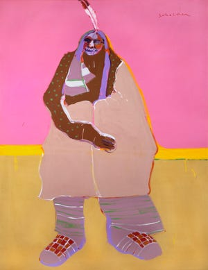 """Fritz Scholder's (American, 1937–2005) acrylic on canvas painting """"Laughing Indian,"""" circa 1976, is included in the exhibit """"Beaux Arts at 75."""" [Image provided]"""