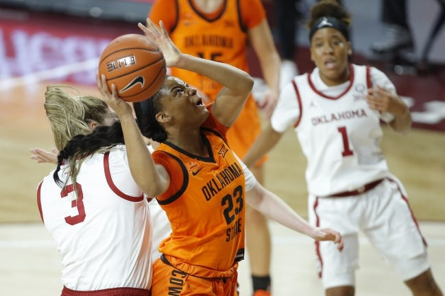 Oklahoma State's Lauren Fields (23) scored 23 points in the Cowgirls' rout of Kansas last Saturday. OSU faces the Jayhawks again on Tuesday night in Stillwater. [Bryan Terry/The Oklahoman]
