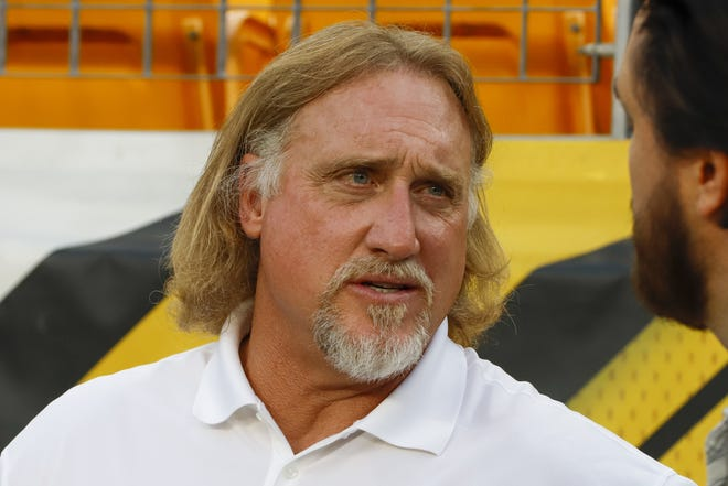 Hall of Fame linebacker Kevin Greene, considered one of the fiercest pass rushers in NFL history, has died. He was 58. Greene died Monday, his family confirmed, as did the Pro Football Hall of Fame. [AP Photo/Gene J. Puskar, File]