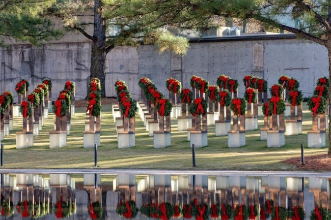 Evergreen wreaths have been placed on the 168 chairs at the Oklahoma City National Memorial & Museum. [PHOTO PROVIDED]