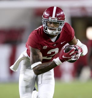 Oct 31, 2020; Tuscaloosa, Alabama, USA; Alabama defensive back Patrick Surtain II (2) returns an interception for a touchdown at Bryant-Denny Stadium during the second half of Alabama's 41-0 win over Mississippi State. Mandatory Credit: Gary Cosby Jr/The Tuscaloosa News via USA TODAY Sports