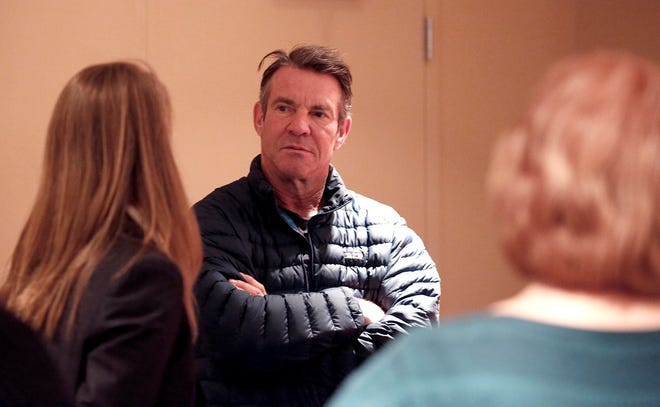 """Dennis Quaid talks with reporters on the set of the film """"I Can Only Imagine"""" at the Civic Center Music Hall, Thursday, Jan. 12, 2017, in Oklahoma City. Quaid is playing the title role in the upcoming Oklahoma-made fact-based film """"Reagan"""" and returns to the Sooner State this year to co-star in the sports biopic """"American Underdog: The Kurt Warner Story."""" [Sarah Phipps/The Oklahoman Archives]"""