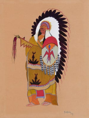 """Monroe Tsatoke's (U.S., Kiowa, 1904-1937) """"Old Kiowa Chief (Old Hunting Horse)"""" is included in the exhibition """"Kiowa Agency: Stories of the Six,"""" on view at the Fred Jones Jr. Museum of Art at the University of Oklahoma. [Image provided]"""
