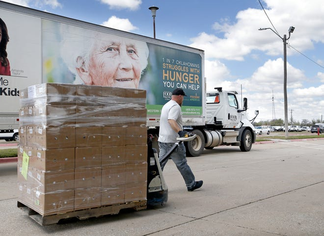 Oklahoma will use $6 million in federal CARES Act money to replenish food banks in the state, including the Regional Food Bank, pictured here in March. [Sarah Phipps/The Oklahoman]