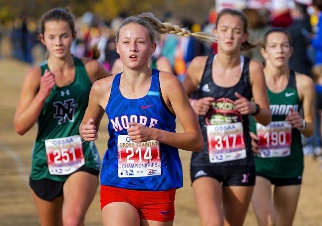 Moore's Kaitlyn Byrd runs during the Class 6A cross country state meet at Edmond Santa Fe on Nov. 4. [Chris Landsberger/The Oklahoman]