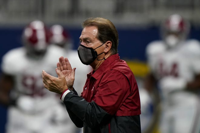 Coach Nick Saban and Alabama are a prohibitive favorite by 20 points over Notre Dame in Friday's playoff semifinal, according to BetMGM.com.  [AP Photo/Brynn Anderson]