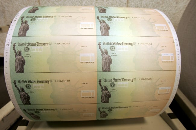 Blank U.S. Treasury checks at the Philadelphia Financial Center are seen in 2008. [AP Photo/Matt Rourke]