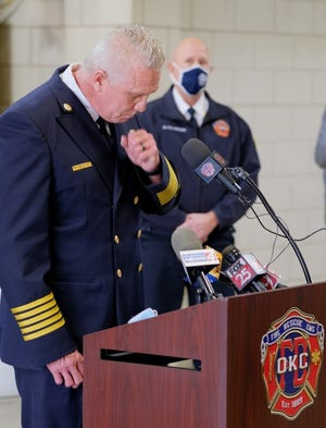 Oklahoma City Fire Chief Richard Kelley chokes back tears while talking Monday about last week's death of Maj. Andy Davis. The 20-year veteran died from COVID-19 on Christmas Eve. [DOUG HOKE/THE OKLAHOMAN]