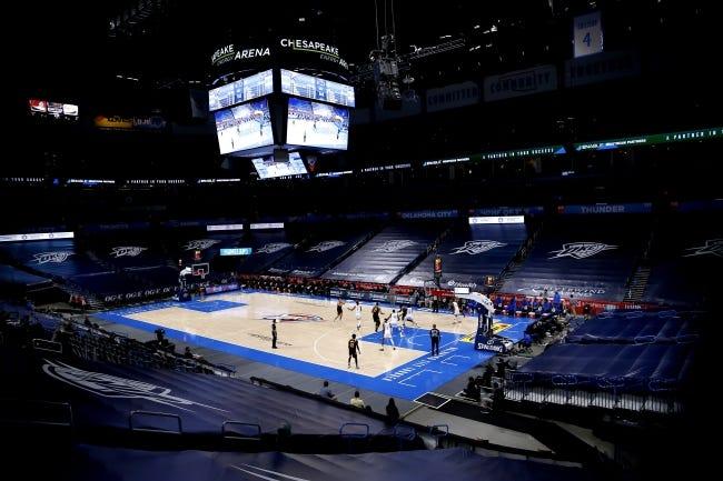 The Thunder and Jazz play during Oklahoma City's home opener Monday at Chesapeake Energy Arena. The Jazz won 110-109. [Sarah Phipps/The Oklahoman]