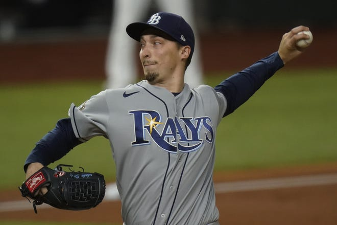 Tampa Bay Rays starting pitcher Blake Snell throws against the Los Angeles Dodgers during the first inning in Game 6 of the World Series in Arlington, Texas. [AP Photo/Eric Gay]