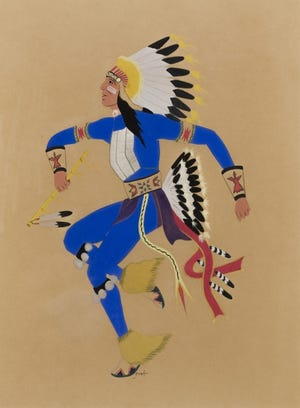 """Spencer Asah's (Lallo) (U.S., Kiowa, 1906-1954) """"Kiowa Dancer"""" is included in the exhibition """"Kiowa Agency: Stories of the Six,"""" on view at the Fred Jones Jr. Museum of Art at the University of Oklahoma. [Image provided]"""