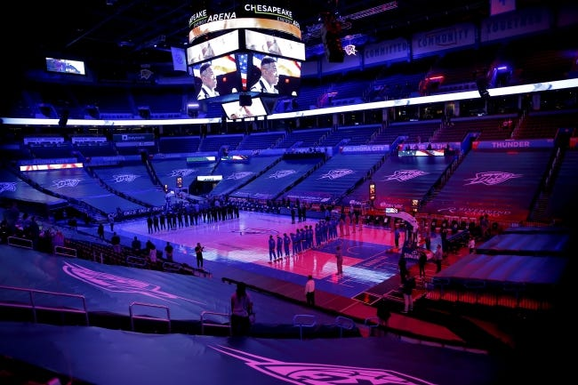 Players stand for the national anthem before the Thunder-Jazz game at Chesapeake Energy Arena on Dec. 28, 2020. [Sarah Phipps/The Oklahoman]