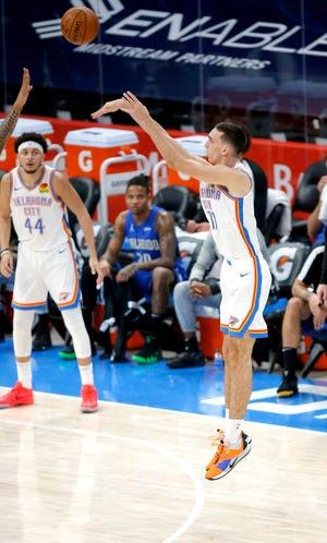 Aleksej Pokusevski appeared in 13 games and logged 12 starts with the OKC Blue. [Sarah Phipps/The Oklahoman]