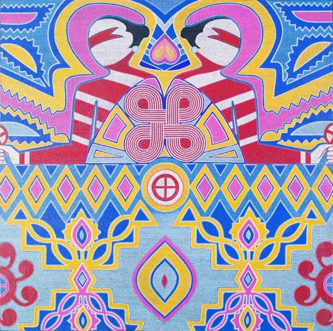 """Starr Hardridge [Muscogee (Creek)] created the 2016 acrylic and plaster on canvas piece """"Cosmic Twins."""" It is part of the exhibit """"Spiro and the Art of the Mississippian World"""" at the National Cowboy & Western Heritage Museum. [Image provided]"""