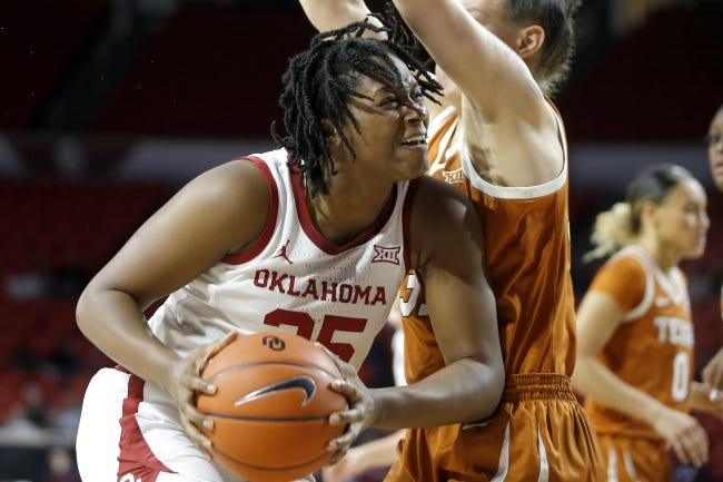 Oklahoma's Madi Williams (25) tries to get past Texas' Audrey Warren (31) during a game last season in Norman. [Bryan Terry/The Oklahoman]
