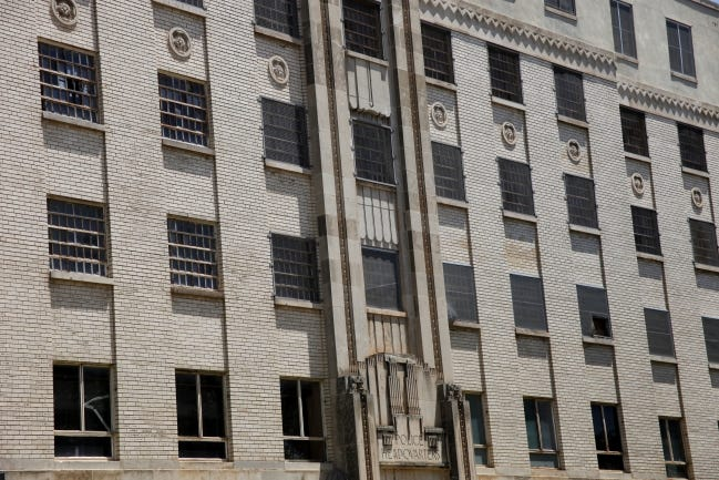 The former police headquarters building and jail, built in 1935 as part of the city's Civic Center, is being targeted for demolition. The jail closed in 1997. [DOUG HOKE/THE OKLAHOMAN]