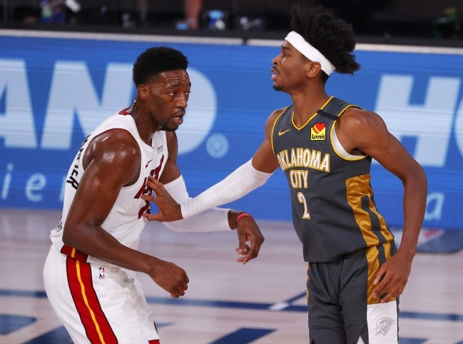 Shai Gilgeous-Alexander and the Thunder topped Bam Adebayo and the Heat 116-115 in the bubble last season. [Kevin C. Cox/USA TODAY Sports]