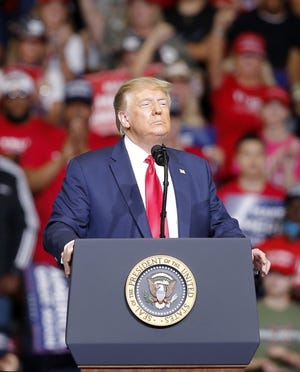 President Donald Trump speaks during a rally at the BOK Center in Tulsa last June. [Sarah Phipps/The Oklahoman]