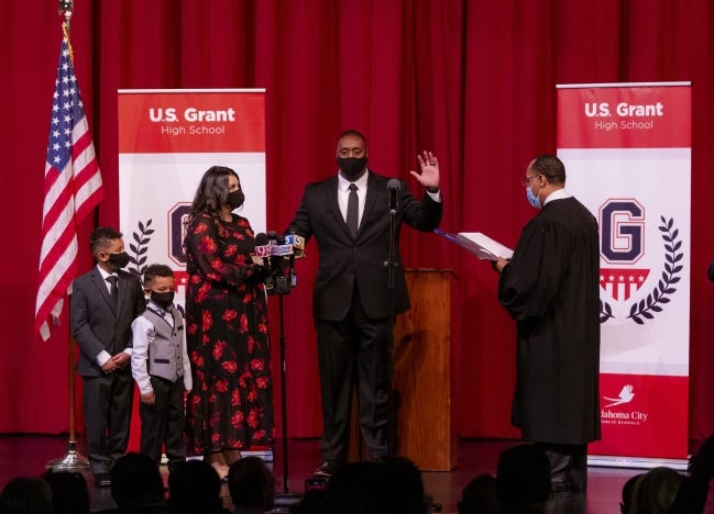 Sheriff-Elect Tommie Johnson is sworn in as Oklahoma County Sheriff by Judge Bernard Jones at U.S. Grant High School in Oklahoma City, Okla. on Monday, Jan. 4, 2021. A blanket of snow covered the state on New Year's day. [Chris Landsberger/The Oklahoman]