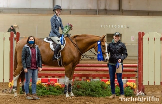 Pictured from left are Christy Hall, groom; Addy Ross and her horse, Pasta (show name Bellini Maestro); and Rebecca Buchanan, nationally certified USEF Trainer at Cadence Equestrian Center in Edmond. [RACHEL GRIFFIN PHOTOGRAPHY]