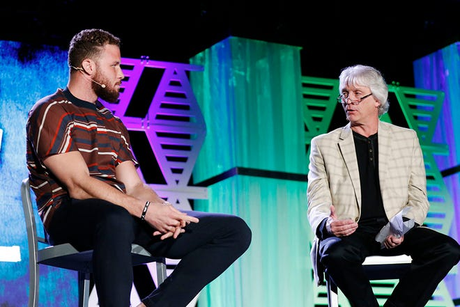 Blake Griffin answers questions from the audience and The Oklahoman's sports columnist Berry Tramel during the All-City Preps Best of OKC Metro 2019 awards banquet in Oklahoma City, Oklahoma Monday, June 3, 2019. [Paxson Haws/The Oklahoman]